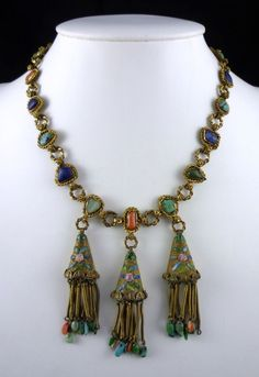 Rare Chinese Export Coral, Hardstone and Enamel Necklace 1920s