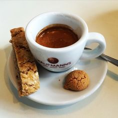 How about a delicious creamy espresso?  And the Biscotti is more than delicious.  #coffee #espresso #hot #biscotti #awesome #love #passion #wiesbaden #kaufmannswiesbaden #photo #organic #kaffee #heiß #super #liebe