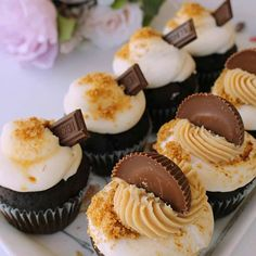 Which by Denise Byrnes would you choose: Classic or Smores? I'd go for b… - Cupcake Mini Ideen Nutella, Fun Cupcakes, Amazing Cupcakes, Reis Krispies, Caking It Up, Fun Desserts, Dessert Ideas, You Choose, Baked Goods