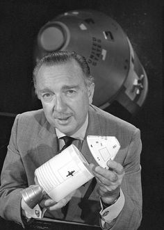 Oct. 11, 1968:  Apollo 7, the first manned Apollo mission, was launched from present-day Cape Canaveral. CBS anchor Walter Cronkite is shown with a model of the Apollo CSM-101 spacecraft.