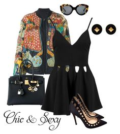 """""""Night Out"""" by kimberlyn303 on Polyvore featuring Hermès, Gianvito Rossi, Karen Walker, black, bomberjacket and hermes"""