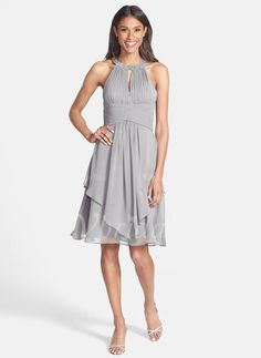 Cocktail Dresses - $139.78 - A-Line/Princess Scoop Neck Knee-Length Chiffon Cocktail Dress With Ruffle Beading (0165100940)