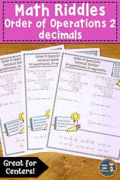 Order of Operations 2 Decimals Math with Riddles Distance Learning Math 7th Grade Classroom, 8th Grade Math, Middle School Classroom, Sixth Grade, Math Stations, Math Centers, Math Resources, Math Activities, Teaching Math