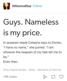 """EOS spoilers  When I read the """"nameless is my price"""" part in EoS I started…"""
