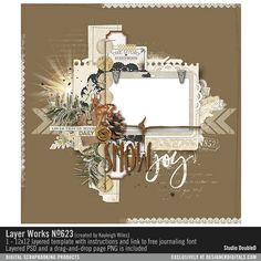 Layer Works No. 623 vintage winter woodlands scrapbook page in layered PSD file…