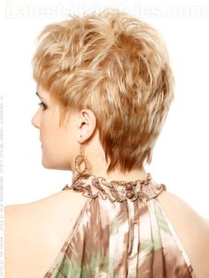 Short Haircut with Layers and Texture Back View