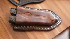 Leather pancake pouch sheath Leatherman Wave and by Wicekleather