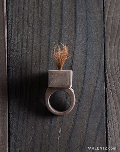All Natural Wood and Buffalo Hair Ring - LOVE - $42.00