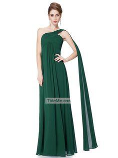 One Shoulder Empire Waist Sheath Green Chiffon Floor Length Cheap Long Prom Dress
