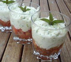 Verrine de chèvre frais, courgette et tomates