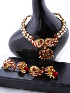Designer Necklace Set with Antique Pearl Hangings