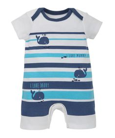Mummy and Daddy Striped Romper - all in ones - Mothercare
