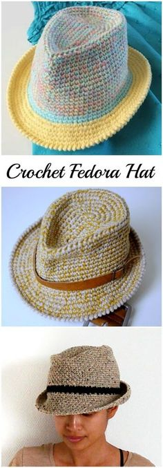 Crochet Fedora Hat (Video+Pattern) That's actually a trilby (fedora has a wider brim), but still cool.