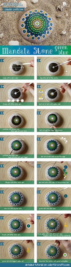 How to #Mandala Stone Tutorial – green blue #DIY by colorful-crafts.com