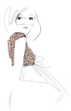 minimal fashion drawing to emphasis fabric detail - fashion illustration