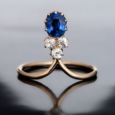 Elegant Art Nouveau Antique Sapphire and Diamond Ring
