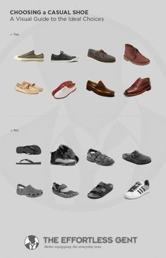 Choosing A Casual Shoe: A visual guide