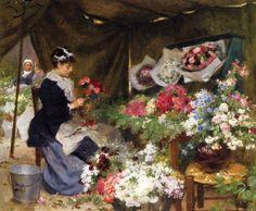 Flower Seller Making Bouquets Victor Gabriel Gilbert - Date unknown