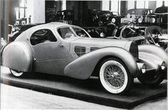 "The engineering on these Atlantics was similar to the other ""Bugatti"" – 1936 Type 57 SC Atlantic Coupe which formed a basis for Bugatti competition and grand touring. Description from greasengasoline.wordpress.com. I searched for this on bing.com/images"