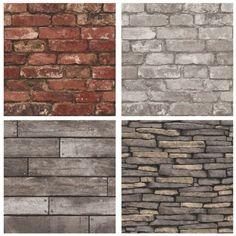 Stone, Brick, Wood & Slate 10m Wallpaper - Amazing themed wall paper décor ideas!