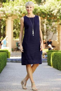 """""""Shop TravelSmith for our Linen A-Line Dress. Simple Dresses, Casual Dresses For Women, Casual Outfits, Dresses For Work, Summer Dresses, Clothes For Women, Linen Dresses, Cotton Dresses, Maxi Dresses"""