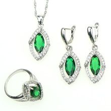 Lozenge 925 Sterling Silver Women Jewelry Sets Green Cubic Zirconia White Rhinestones Jewelery Earrings/Pendant/Necklace/Ring //Price: $US $10.82 & FREE Shipping //     #hashtag1