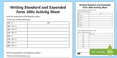 Writing Standard and Expanded Form 100s Activity Sheet - expanded form, simple form, expanded, place value, hundreds, tens, ones, units, worksheet, ten thous