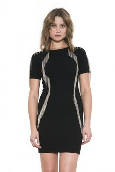 Mara Dress by one grey day- Mara is a body con LBD that refuses to fade into the back ground. Wool Dress, Metal Chain, Lbd, Shirt Dress, Stylish, Grey, Fabric, Fall 2015, Shirts