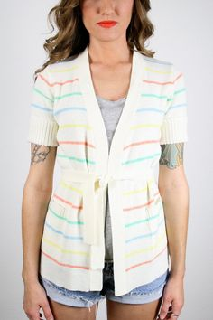 Vintage Hippie Sweater Wrap Sweater Belted Cardigan Pastel Striped Jumper Ivory Cream Light Cardigan Jacket Short Sleeve 1970s 70s S Small by ShopTwitchVintage #vintage #etsy #70s #1970s #sweater #jumper #cardigan #striped #knit #hippie