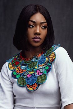 African Fabric Collar Necklace Vibrant ankara pleated cape a beautiful . African Fabric Collar Necklace Vibrant ankara pleated cape a beautiful on top of a solid dress or shirt. African Wear, African Attire, African Fashion Dresses, African Dress, Ankara Fashion, Fashion Outfits, Fashion Styles, Style Fashion, Fashion Jewelry