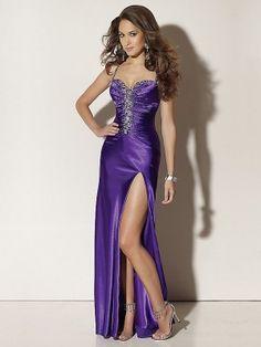 Column Purple Strap High Slit Long Prom Dress