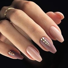 "5,397 Likes, 25 Comments - TheGlitterNail  Get inspired! (@theglitternail) on Instagram: ""✨ REPOST - - • - - Beautiful Fall Nails  in Nude and Mauve with golden Crystals  - - • - - …"""