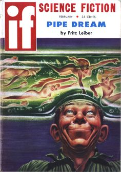 """If vol 9 no 2, February 1959. Cover art by Kelly Freas illustrating """"Pipe Dream"""" by Fritz Leiber."""