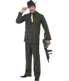 Gold Pinstripe Gangster Mens Costume | 1920S