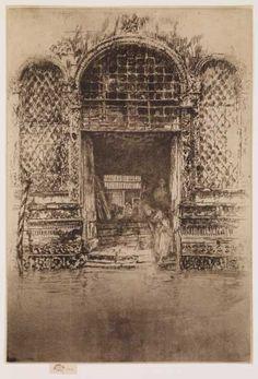 James Abbott McNeill Whistler (1834-1903), The Doorway, 1879-1880. Etching and drypoint. James Abbott Mcneill Whistler, National Gallery Of Art, Art Gallery, Freer Gallery, Google Art Project, Techno, Art Society, Vintage Wall Art, Doorway