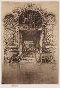 James Abbott McNeill Whistler (1834-1903), The Doorway, 1879-1880. Etching and drypoint.