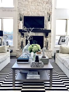 Stone Fireplace. Fireplace: Chopped Leuders (stone). Cedar mantel & corbels: Stain espresso. Beautiful Homes of Instagram @whistiques