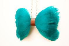 Handmade Feather Bow Tie Necklace