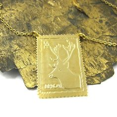 Gold Reindeer Necklace  Antlers are the best!