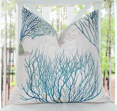 Designer Blue Green Pillow - Blue Coral Sea Fan Turquoise Teal Deep Blue Pillow Cover - Throw Pillow Cover - Nautical Pillow on Etsy, $39.05 AUD