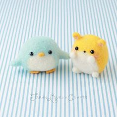 Japanese Needle Wool Felt Mascot DIY Kit, Kawaii Hamster & Penguin Set, Japanese Felting Kit, Midori Hattori, Kawaii Hamanaka Kit - F12
