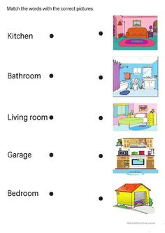 Rooms in the house Language: English Level/group: School subject: English as a Second Language (ESL) Main content: Rooms in the house Other contents: English Activities For Kids, Learning English For Kids, English Worksheets For Kids, English Lessons For Kids, Kids English, 1st Grade Worksheets, Preschool Learning Activities, Learn English Words, Kindergarten Worksheets