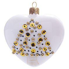 Skleněné srdce symbolizující lásku vánočního času je provedeno v bílém lesku. Dekor vánočního stromečku utváří seskupení kamínku, perliček a teček ve zlato-hnědé barvě. Srdce je vysoké 10 cm. Basic Colors, Colours, Nordic Style, Christmas Bulbs, Touch, Pure Products, Elegant, Holiday Decor, Classy