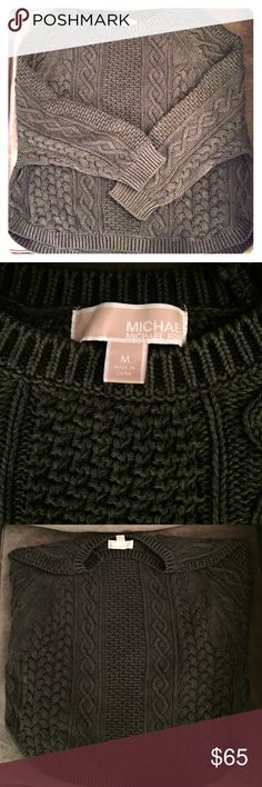 Michael Kors Cable Knit Sweater Charcoal grey Michael Kors cable knit sweater. Size M and 100% cotton. MICHAEL Michael Kors Sweaters Crew & Scoop Necks