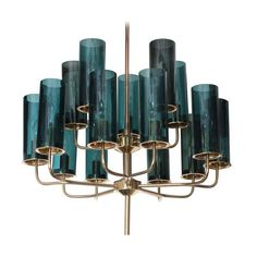 Brass & Blue Glass Tube Chandelier 12519