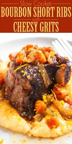 Slow Cooker Bourbon Short Ribs with Cheesy Grits! Use your slow cooker to braise short ribs to perf Meat Recipes, Slow Cooker Recipes, Crockpot Recipes, Cooking Recipes, Cooking Courses, Smoker Recipes, Slow Cooker Grits Recipe, Bourbon Recipes, Top Recipes