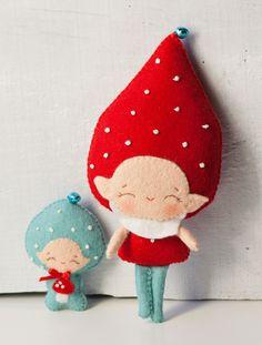 PDF. Gnome dad with baby. Murshroom elves. Plush Doll Pattern, Softie Pattern, Soft felt Toy Pattern.. $6.50, via Etsy.