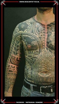 BIG WORK. Tribe inspired tattoos. *Possible bodysuit.  Tattooed by: Jim Orie Dragon Tattoo Becoming A Tattoo Artist, Tattoo Portfolio, Body Tattoos, Unique Tattoos, Tattoo Artists, Dragon, Bodysuit, Belgium, Inspiration