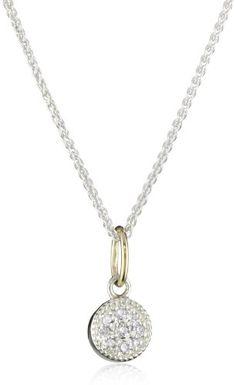 Mizuki Petite Silver and Diamond Evil Eye Necklace%2C 16%22