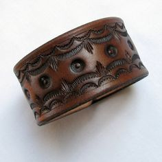 Wide Brown Tooled Leather Wristband  Segments by aosLeather, $23.50
